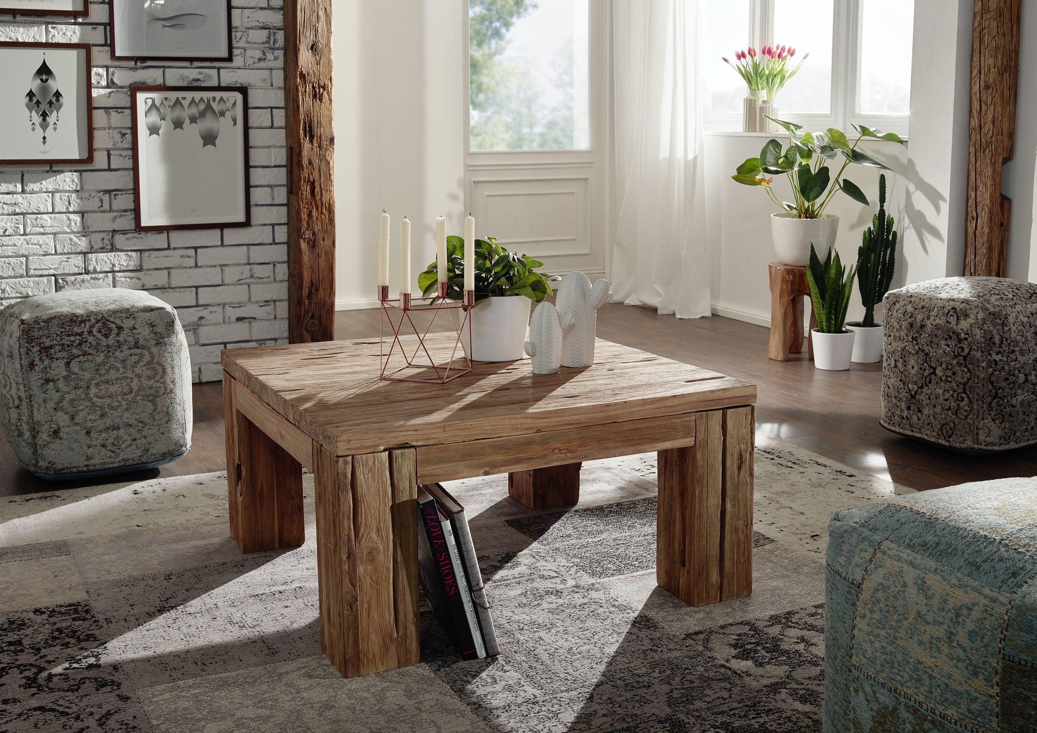 Wohnzimmermöbel Holz ~ Couchtisch aus aufbereitetem teakholz die serie rustica