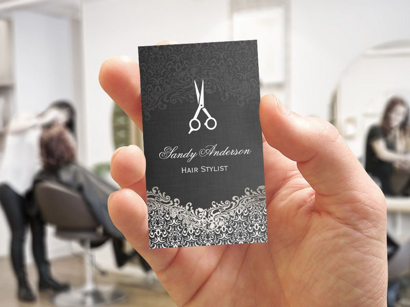 Elegant Dark Silver Damask - Hair Stylist Business Card Template ...