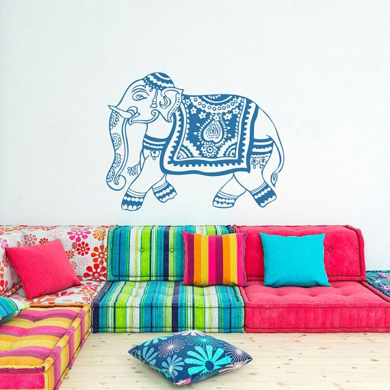 Indian Elephant Wall Decal Stickers Yoga Wall by FabWallDecals