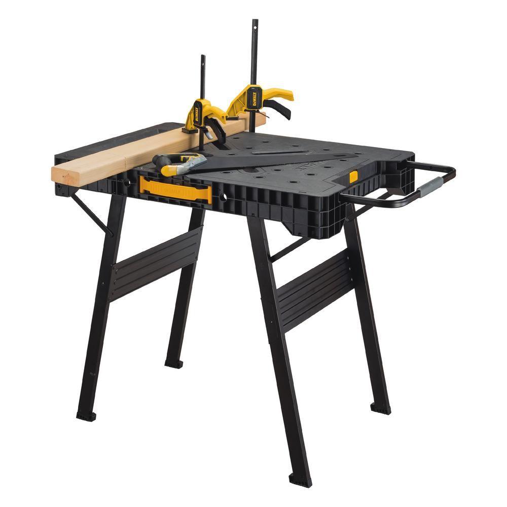Dewalt 33 4 In Folding Work Bench Dwst11556 The Home Depot Folding Workbench Portable Workbench Workbench Legs