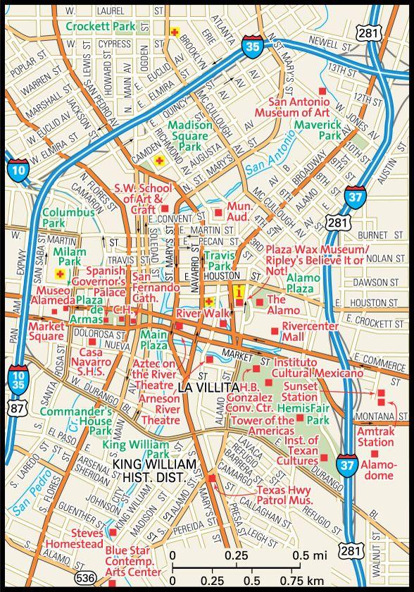 San Antonio Map Guide To San Antonio Texas Downtown San