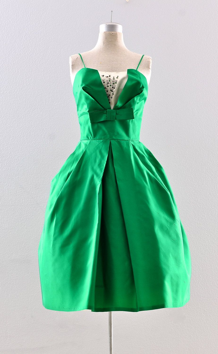 Vintage 1950s dress - emerald green party dress / 50s ball gown ...