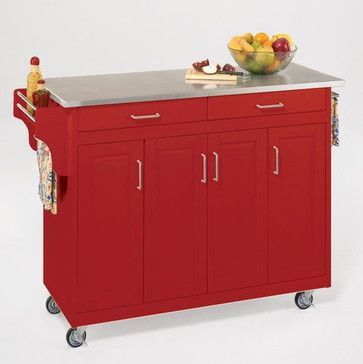 Home Styles Create A Cart Red Kitchen With Stainless Steel Top Modern Islands And Carts