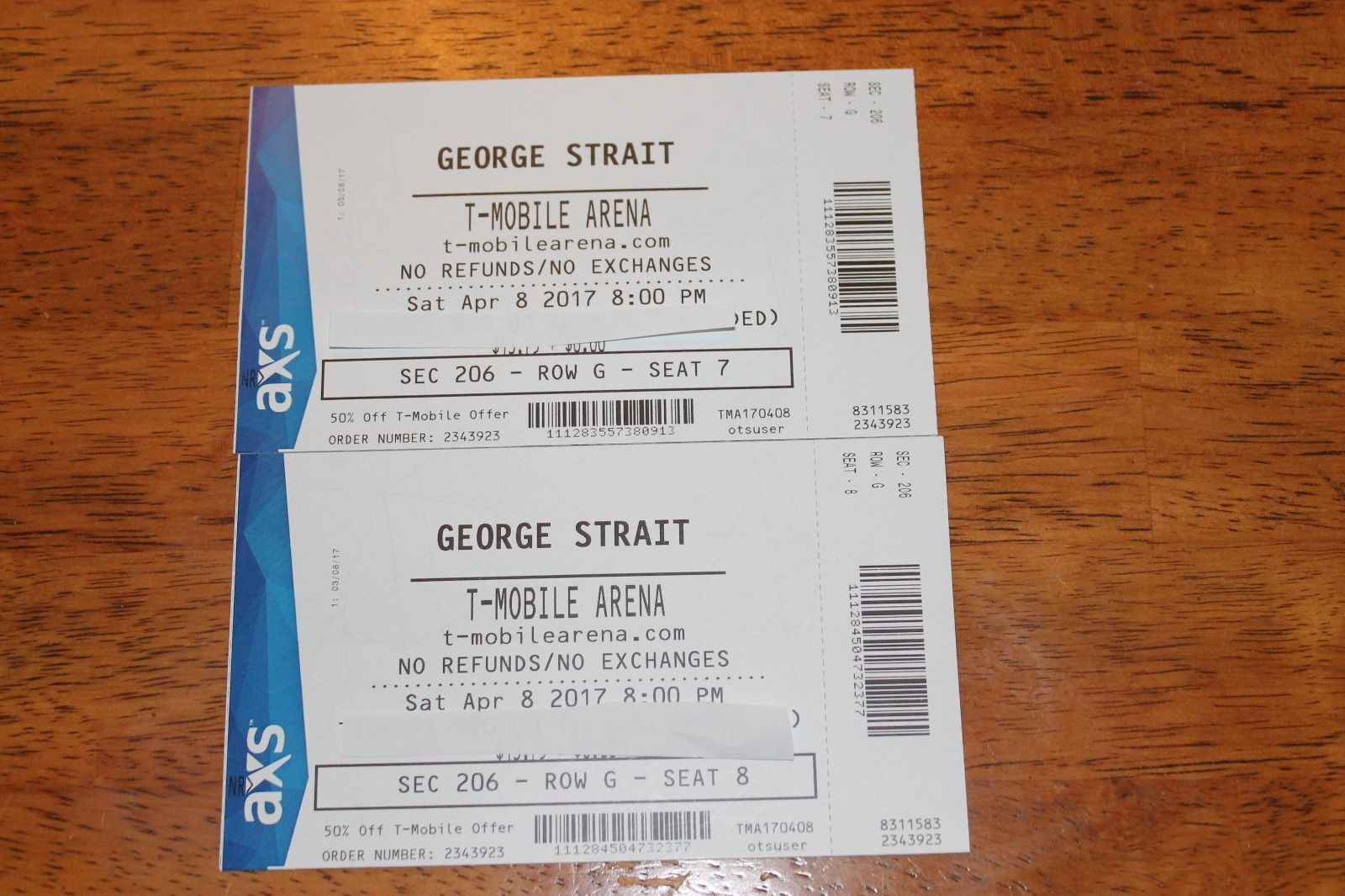 Tickets 2 George Strait Tickets 4 08 17 T Mobile Arena Sec 206 4 8 17 Las Vegas Nv Tickets George Strait Las Vega Nv Straits
