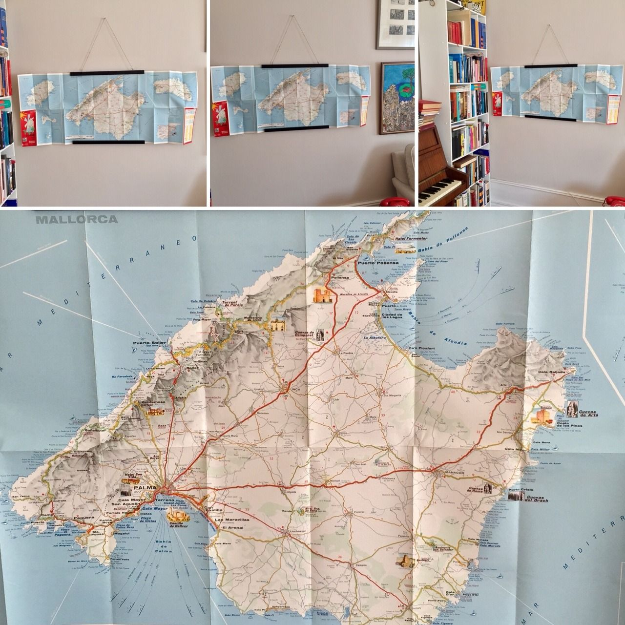 1960s vintage map of Spains Balearic islands with Mallorca Ibiza and