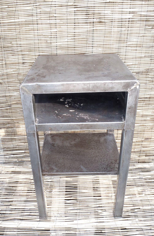 vintage industrial simmons metal side table. Vintage 1930s Industrial Steel Cube Side Table Night Stand By Simmons Metal I
