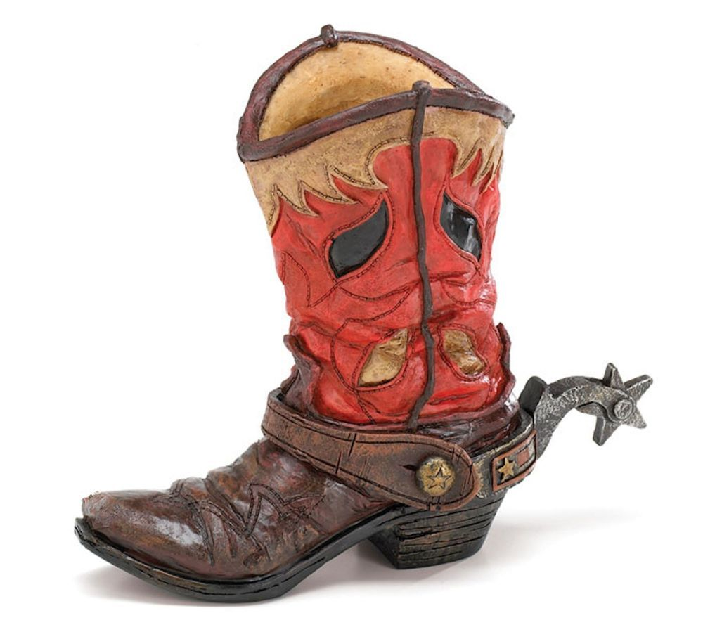 New red brown cowboy boot vase with spur western centerpiece new red brown cowboy boot vase with spur western centerpiece burtonburton reviewsmspy