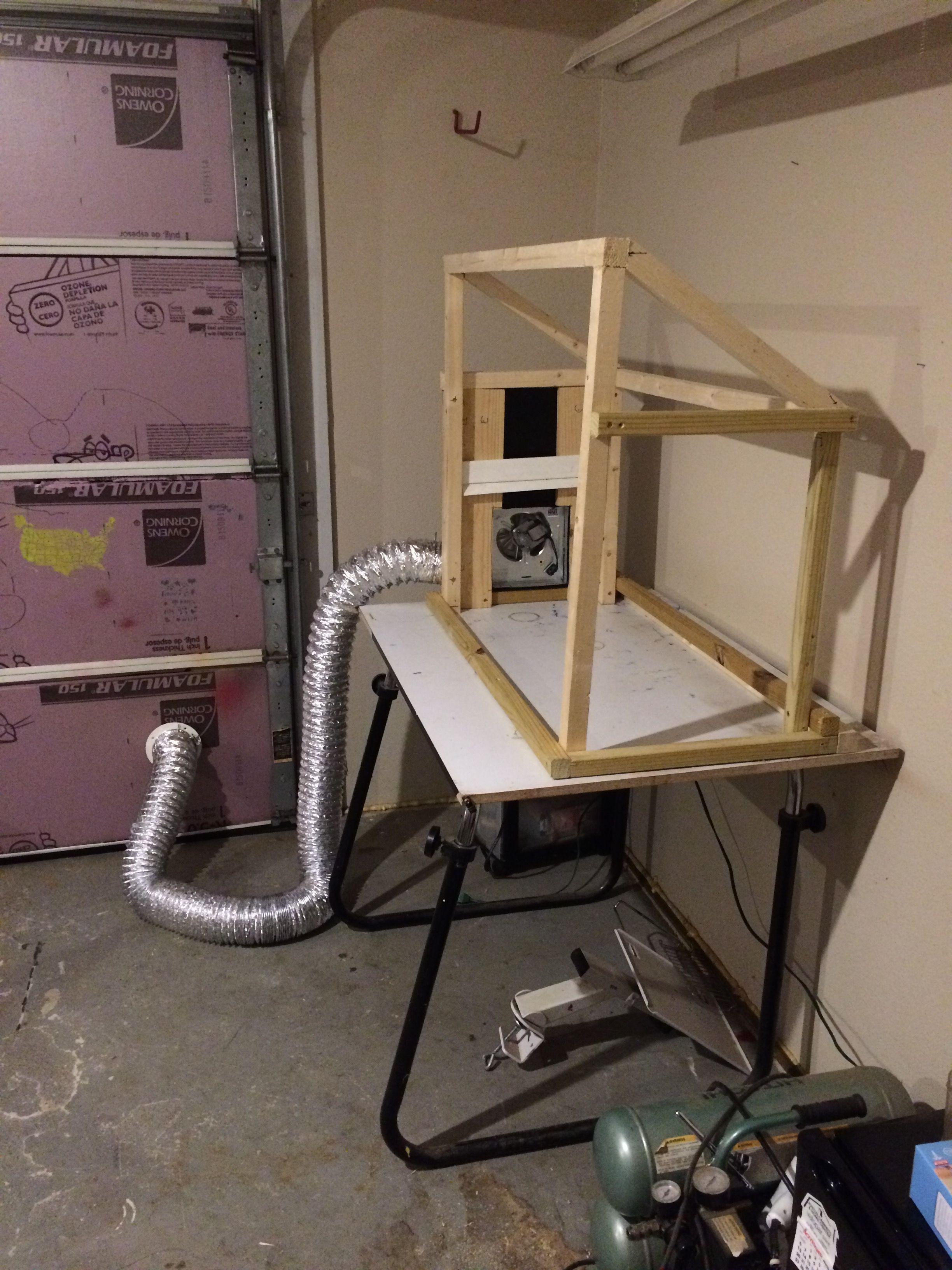 Garage Airbrush Paint Booth, exhaust fan, flex house