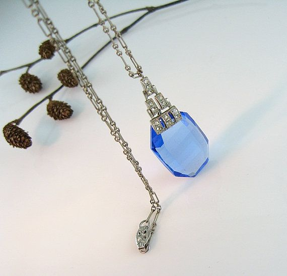 Art Deco Necklace Blue Glass Stepped by bohemiantrading on Etsy, $215.00