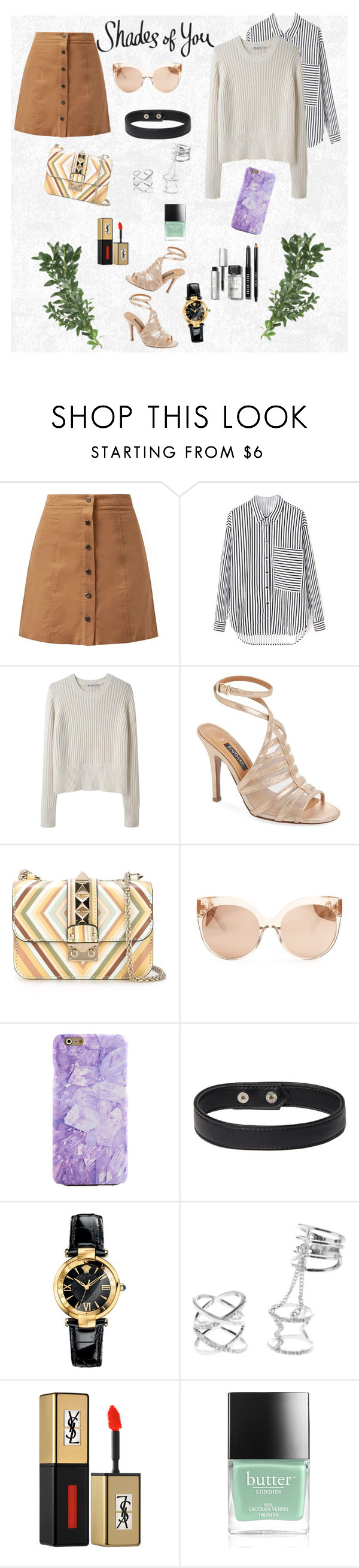 """""""Sem título #20"""" by lasiamon ❤ liked on Polyvore featuring T By Alexander Wang, Kay Unger New York, Valentino, Linda Farrow, Versace, Charlotte Russe, Yves Saint Laurent, Butter London and Bobbi Brown Cosmetics"""