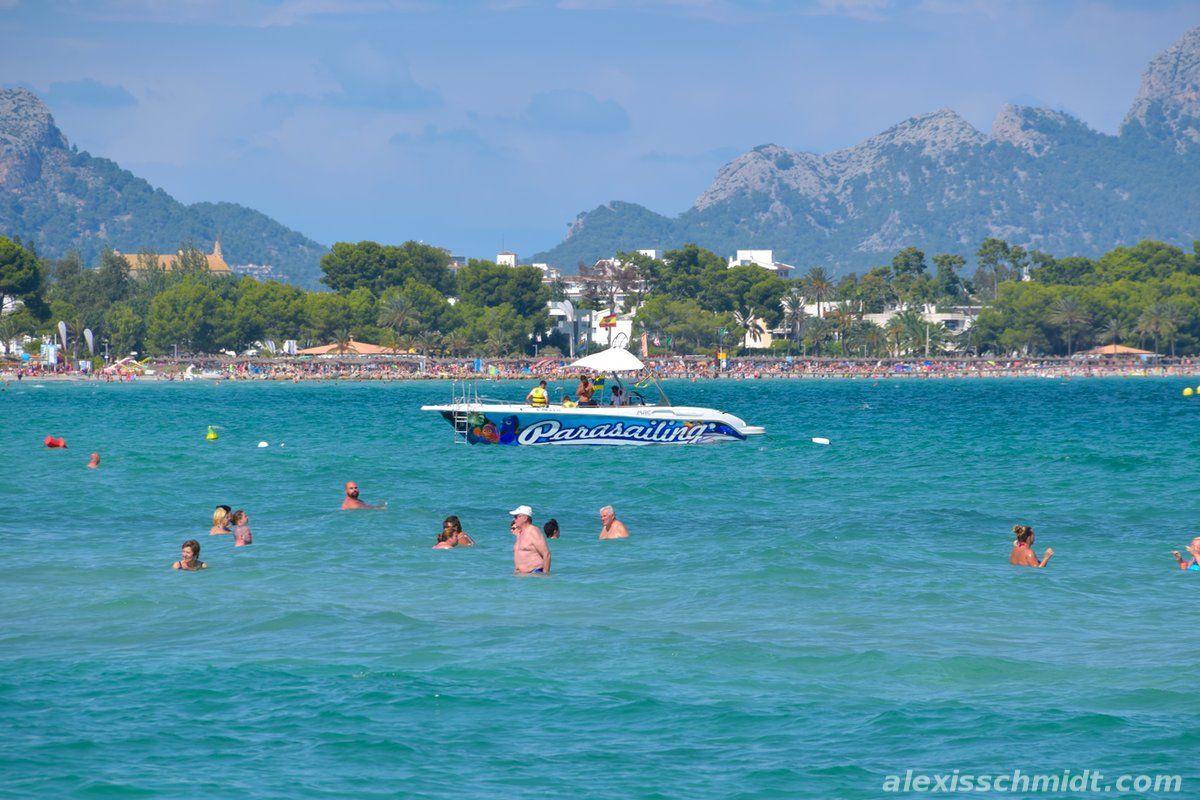 Parasailing boat in playa de muro mallorca spain in 2020