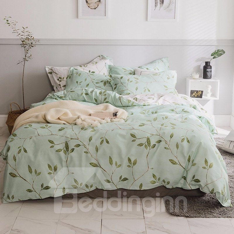 Fresh Leaves With Light Green Printed 4 Piece Cotton Bedding Sets Duvet Cover Green Duvet Covers Light Green Bedding Green Duvet