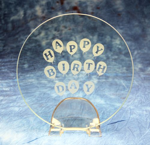 Glass Etched Happy Birthday Balloon Plate Using Armour Products