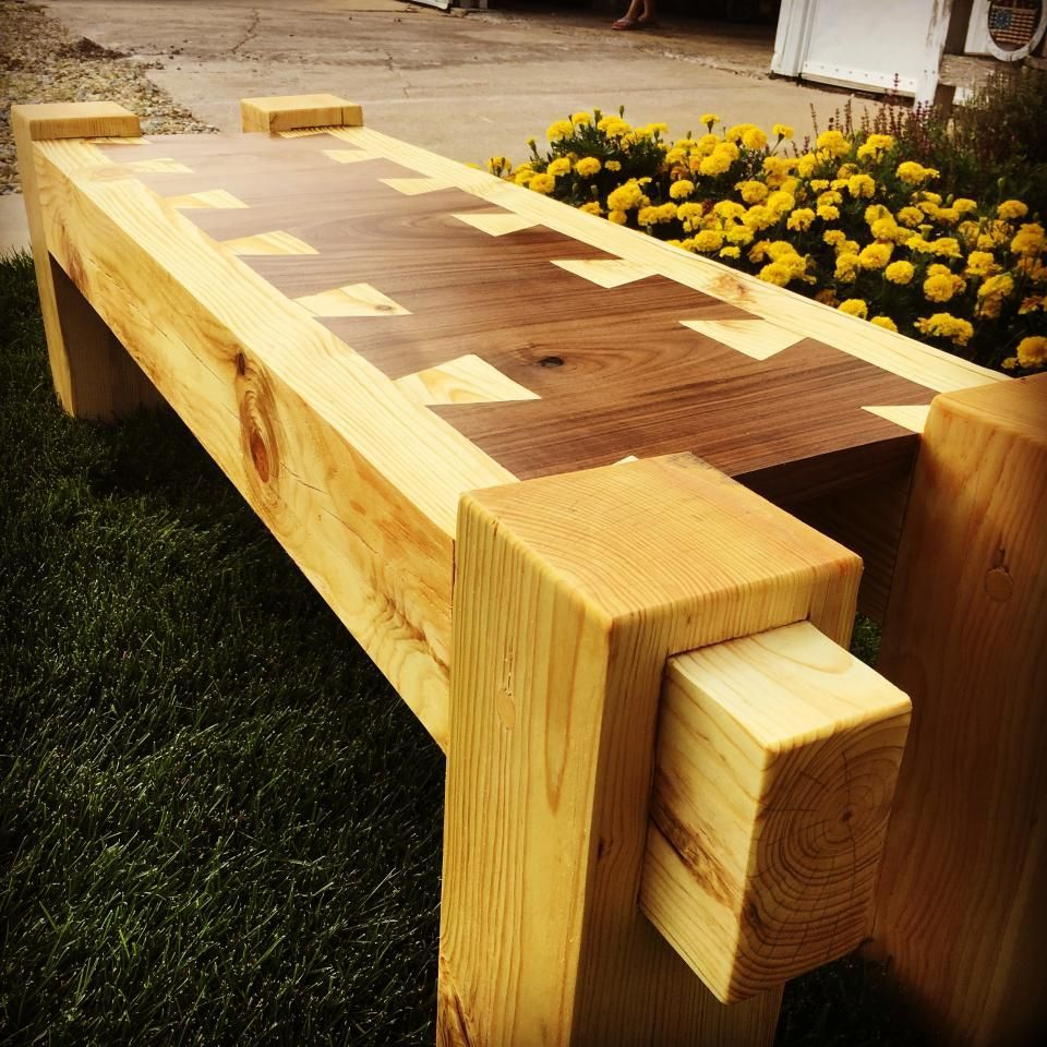 Custom built bench pine and walnut mortise tenon and over sized dovetails woodworking woodworkingbench
