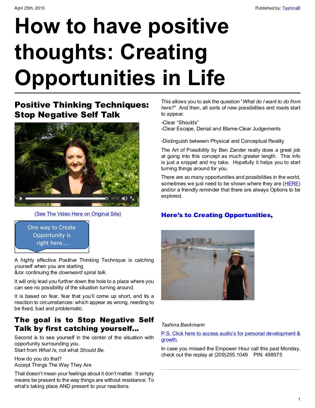 Positive Thinking Techniques Stop Negative Self Talk By
