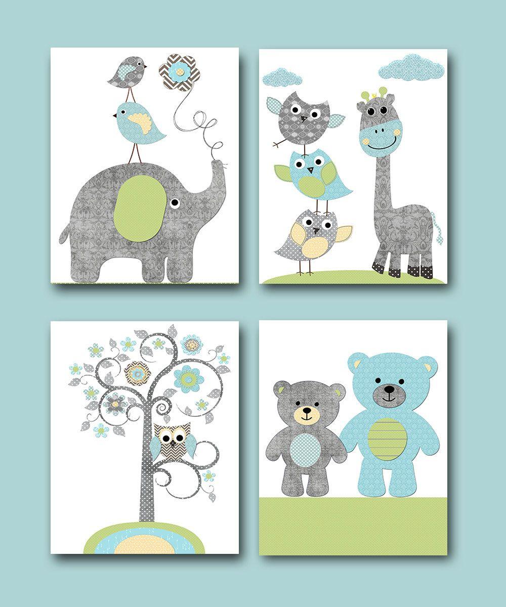 Gray Green Blue Elephant Wall Art Giraffe Bears