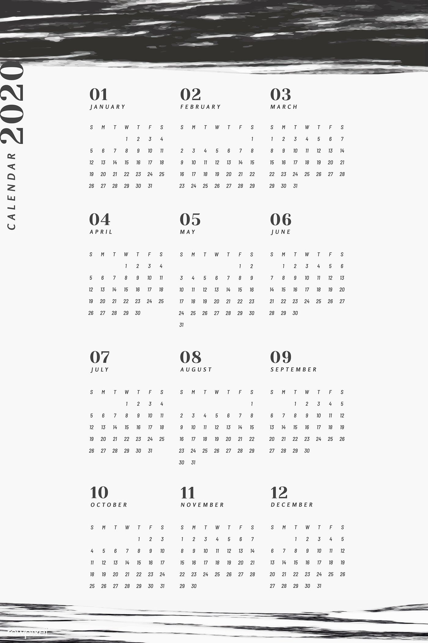 Black and white marble calendar for 2020 vector free