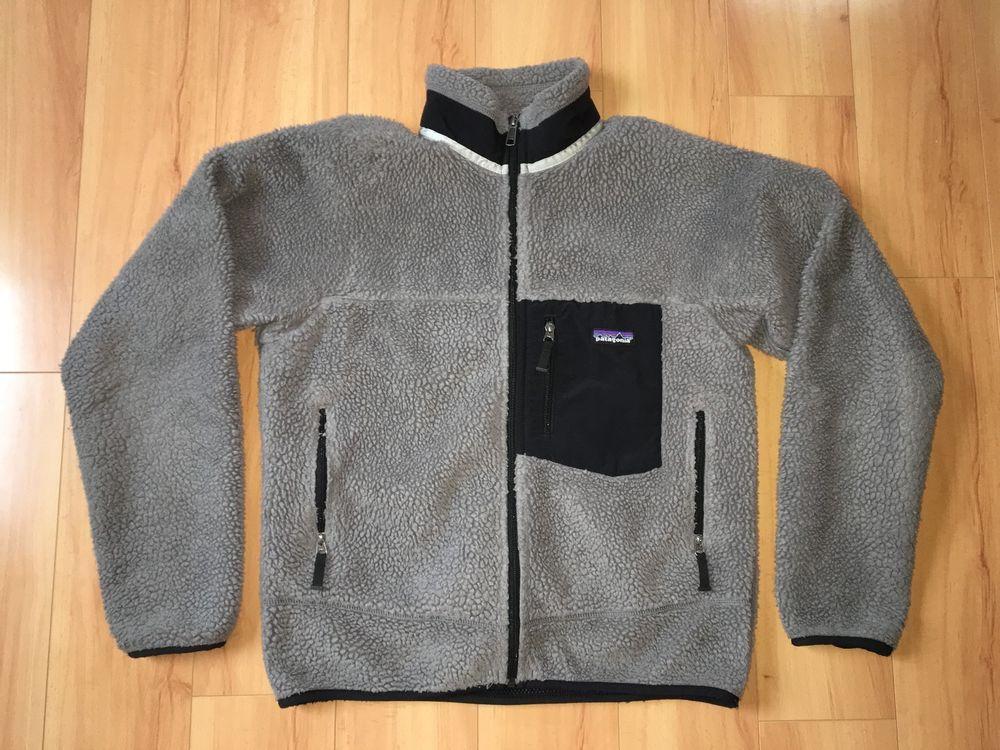 45d4e7d8a0 Details about Patagonia Men's Gray Sherpa Deep Pile Fleece Retro-X ...