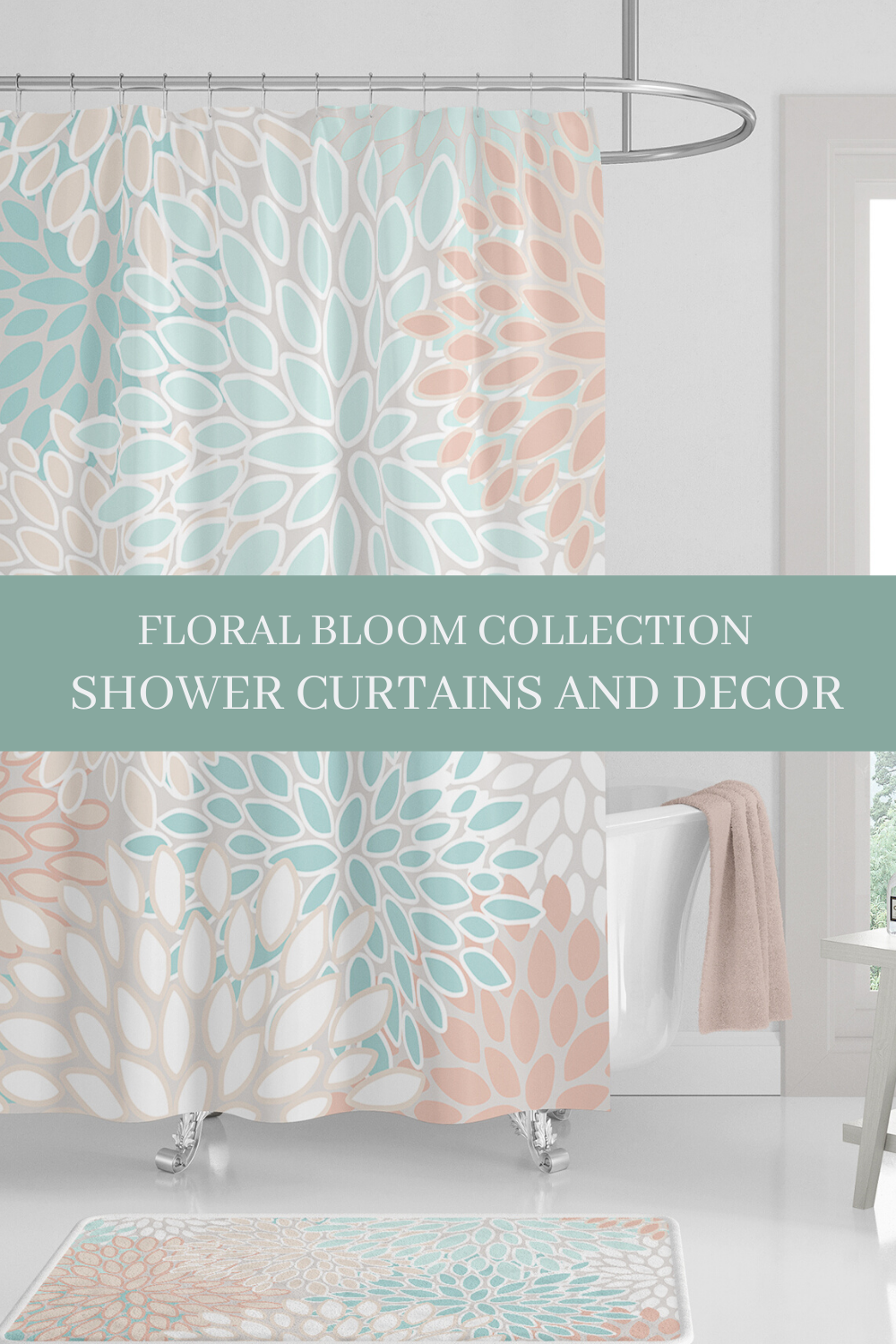 Coral Shower Curtains With Aqua And Teal Elegant Floral Shower Curtains In 2020 Coral Shower Curtains Floral Shower Curtains Shower Curtain