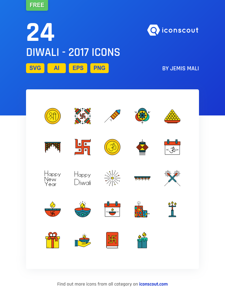 diwali 2017 free icon pack 24 filled outline icons