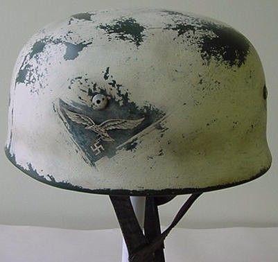 GERMAN M38 FALLSCHIRMJAGER HELMET WINTER CAMO | Militaria