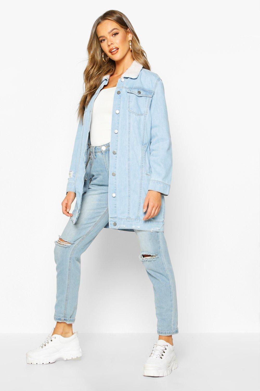Borg Longline Denim Jacket Boohoo Longline Denim Jacket Jean Jacket Women Denim Jacket [ 1500 x 1000 Pixel ]