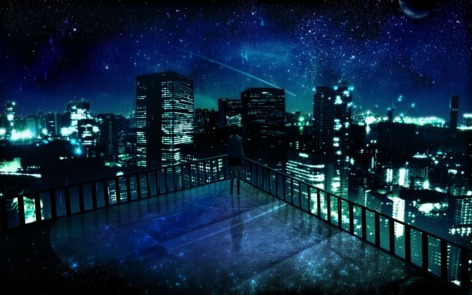 Blue Anime Wallpapers Hd Wallpapers Backgrounds Of Your Choice Anime City Anime Scenery Wallpaper Anime Galaxy