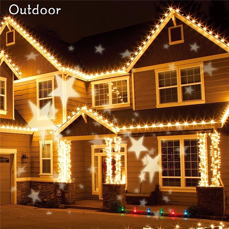 Waterproof Star Laser Projector Lamps Snowflake LED Stage Light For