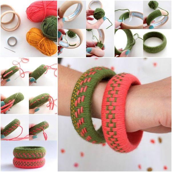 The Perfect DIY Unique Woven Yarn Bangles
