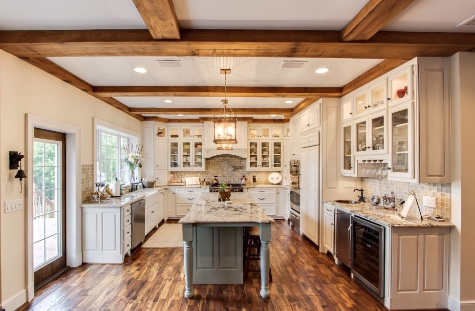 Beams In Ceiling Raised Panel Cabinets Different Colored Island Wet Bar And Dinner Bell This Is My I Wood Floor Kitchen Acacia Wood Flooring Kitchen Flooring