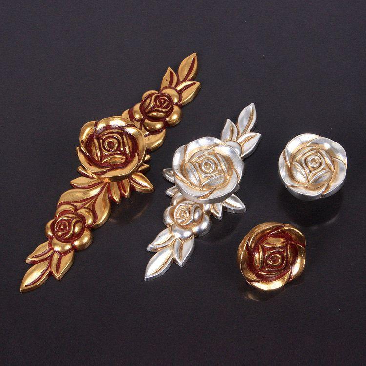 Dresser Knobs Handles Drawer Knobs Pulls Handles Rose Flower Gold Red  Bronze Antique Silver Kitchen Cabinet