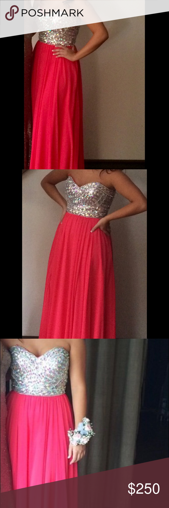 Hot pink prom dress with bedazzled bodice bodice hot pink and