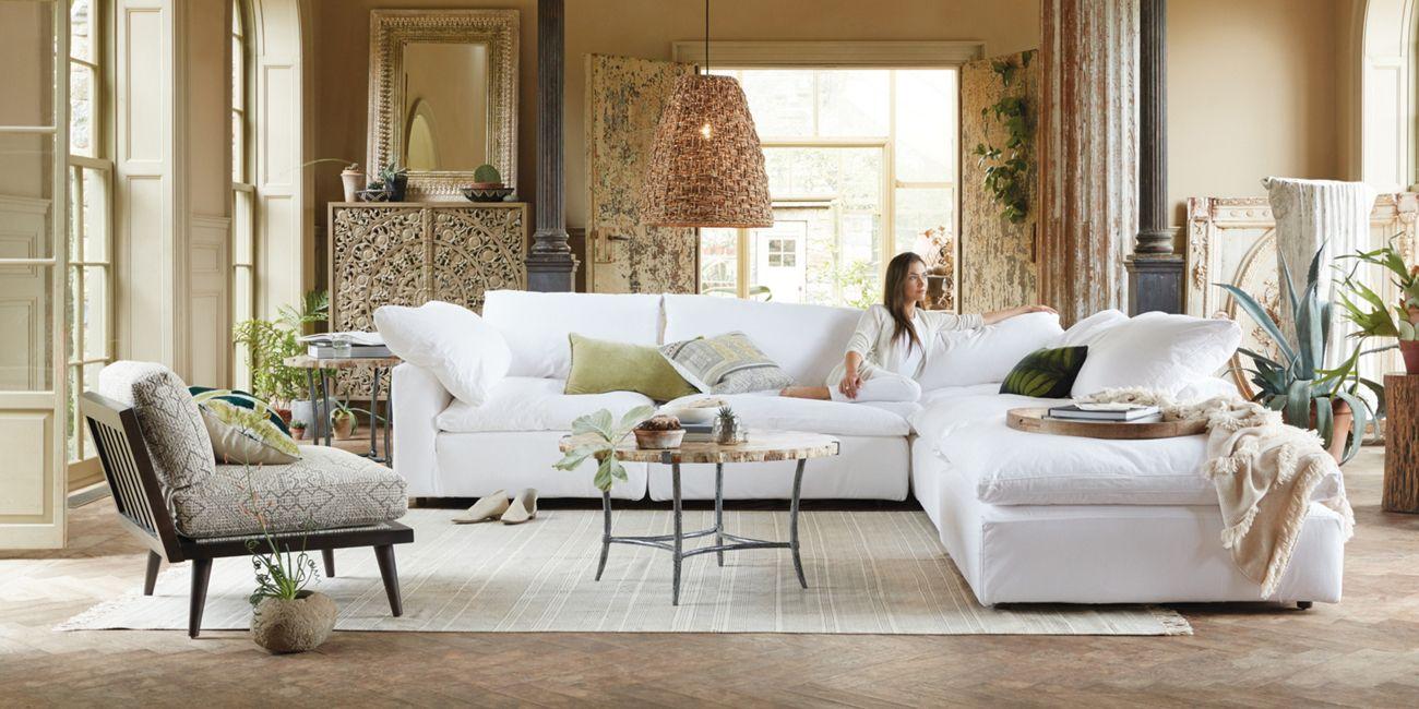 Tahoe Slipcovered Five Piece Sectional Arhaus Furniture Coastal