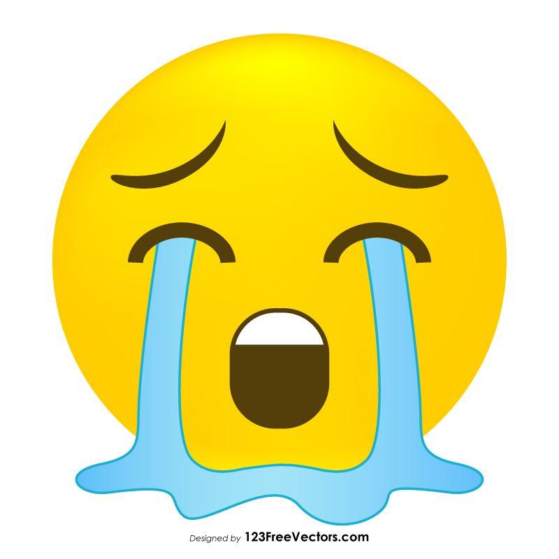 Loudly Crying Face Emoji Vector Crying Face Emoji Crying
