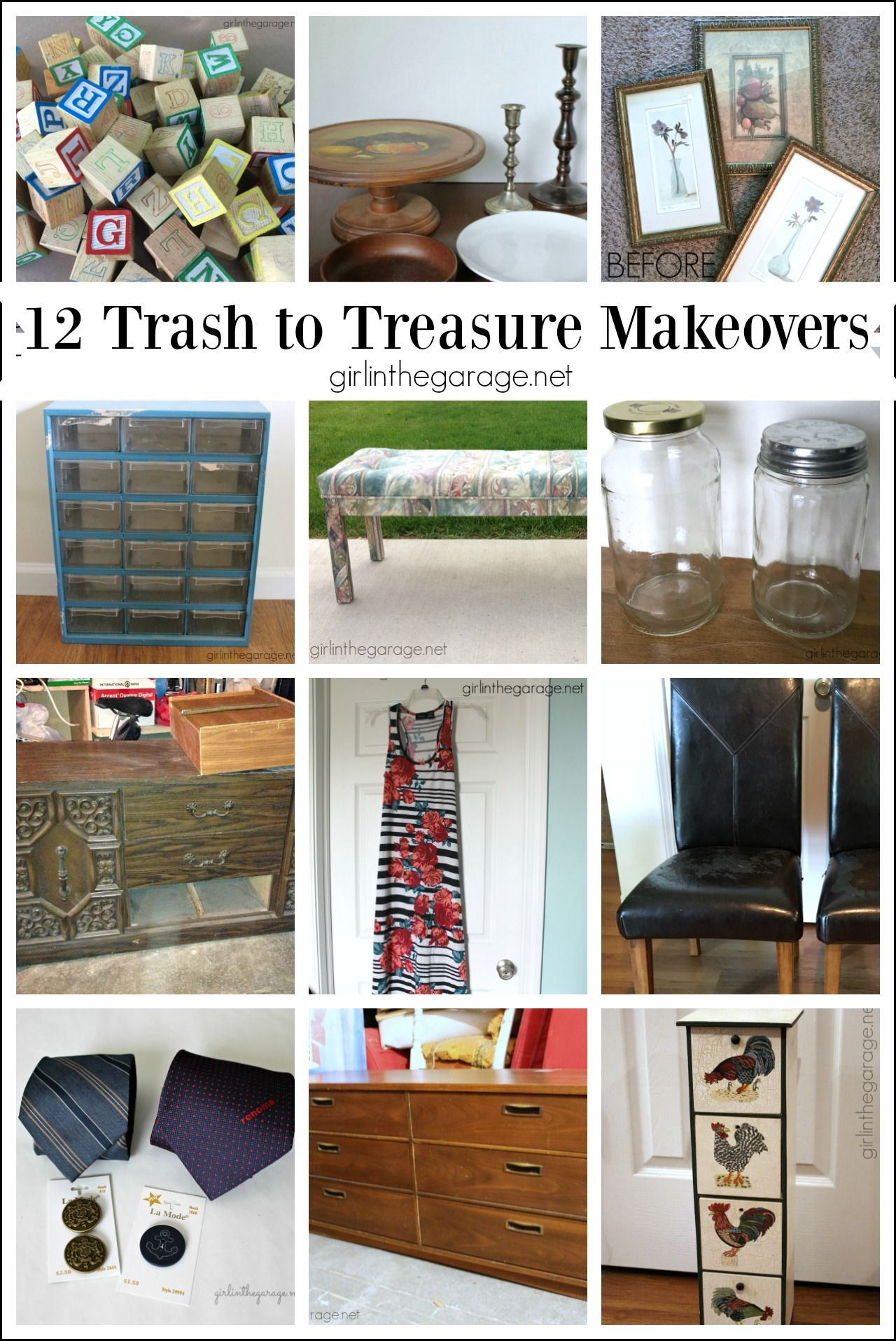 12 Clever Trash to Treasure Makeovers #thriftstorefinds
