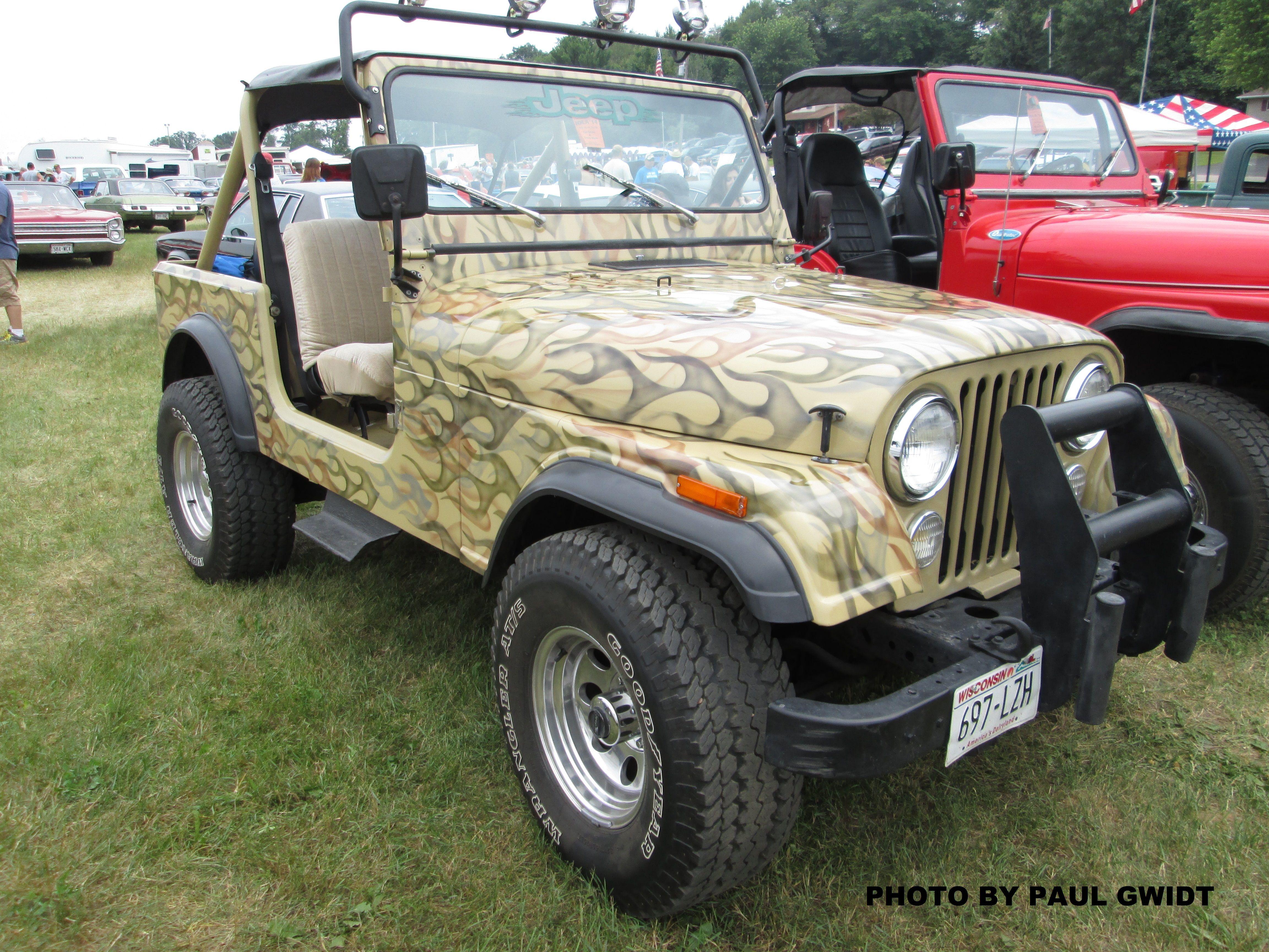 Jeep CJ love the camo flame paint job Jeeps