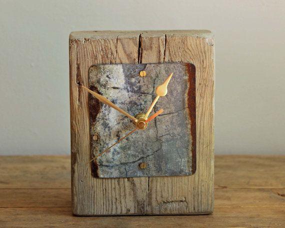 Driftwood Mantel Clock With Rusty Beach Metal By Reclaimedtime Wood Clocks Wooden Clock Rustic Wall Clocks