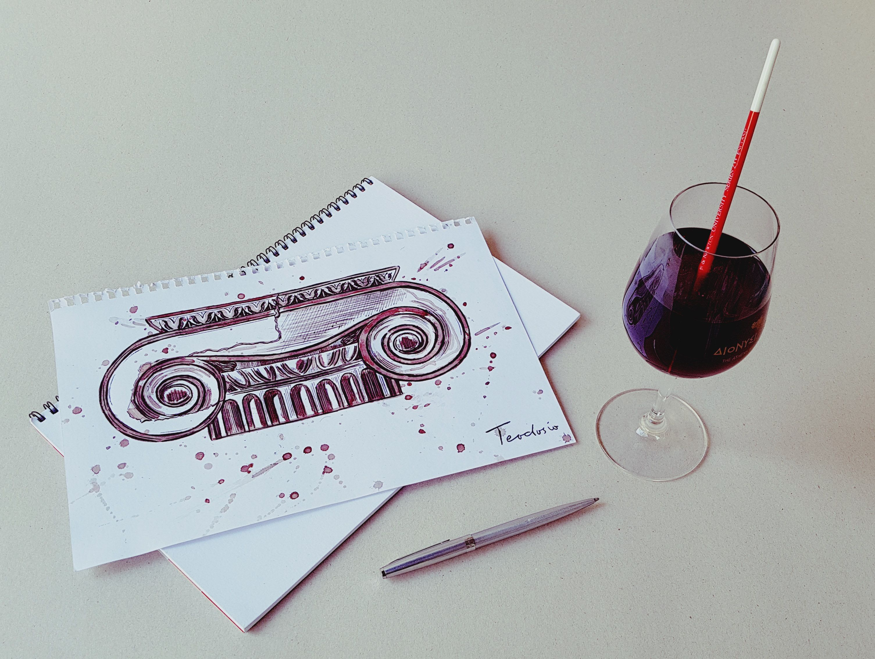 Just paint with...red wine + ballpoint pen... #art #wine #sketch #teodosio #greek #artist #greece
