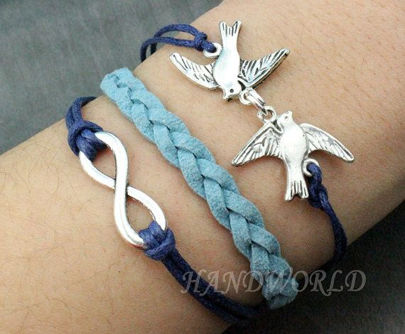 Silver Birds& Infinity Wish Bracelet Navy Ropes by handworld, $3.79