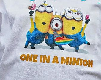 """Despicable Me, Minion Tshirt, """"One in a Minion"""", Minion Onesie, Character Tshirt, Newborn, Baby, Toddler, Teen, Adult"""