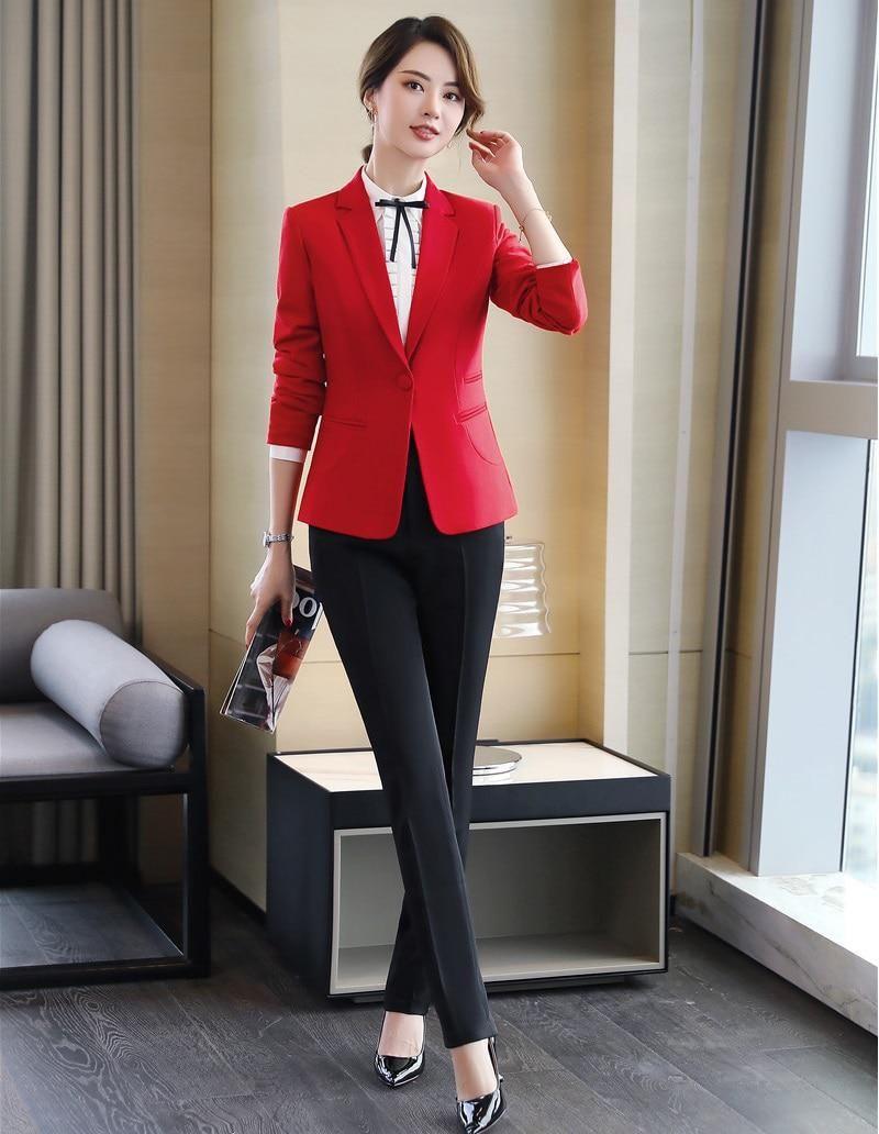 7b05e107030 2019 Formal Elegant Women s Suits Blazers Trouser Ladies Yellow Blazer  Business Suits Pant and Jacket Sets Work Wear Office set.