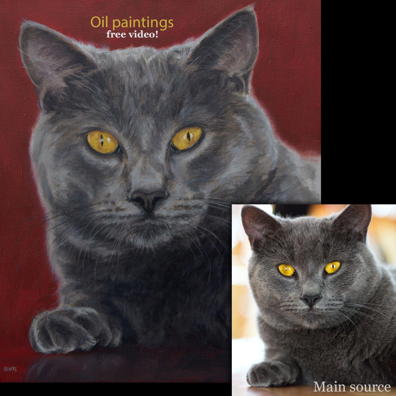 Cat portrait painting of Russian Blue 'Benji', 10x12ins