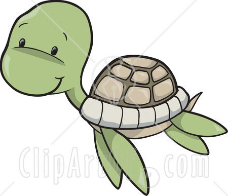 Cute Baby Sea Turtle Swimming Clipart Illustration Easy Cartoon