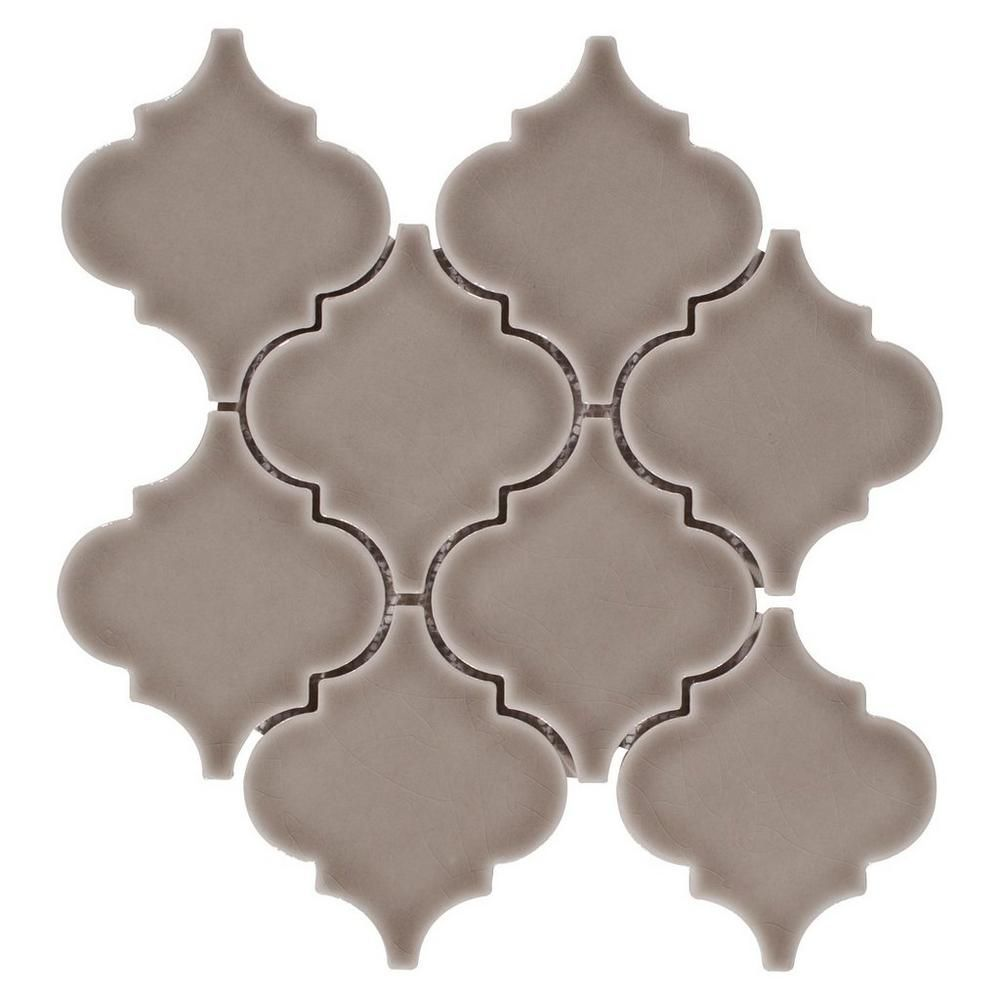 Floor And Decor Arabesque Tile Heirloom Pewter Arabesque Porcelain Mosaic  Pewter Porcelain And