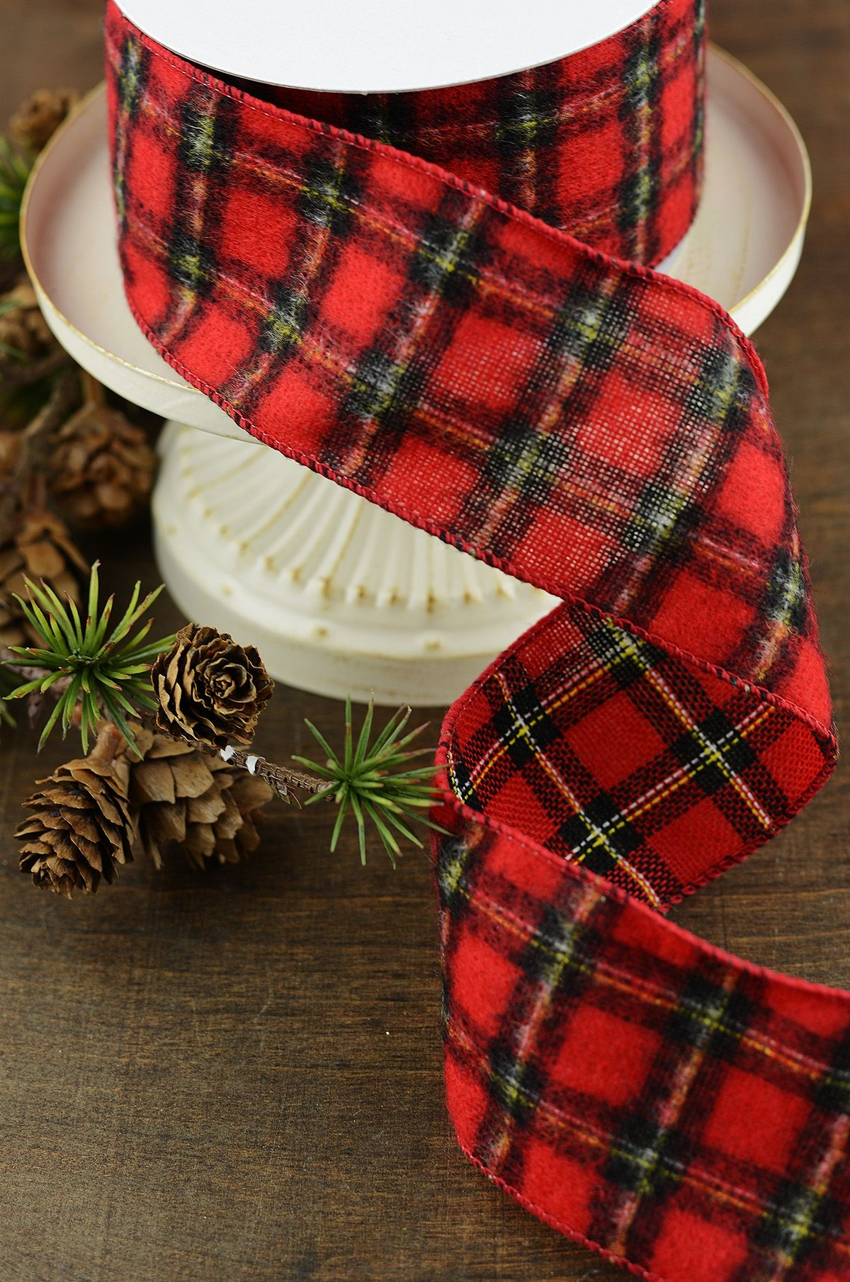 red plaid christmas ribbon 25in x10yd
