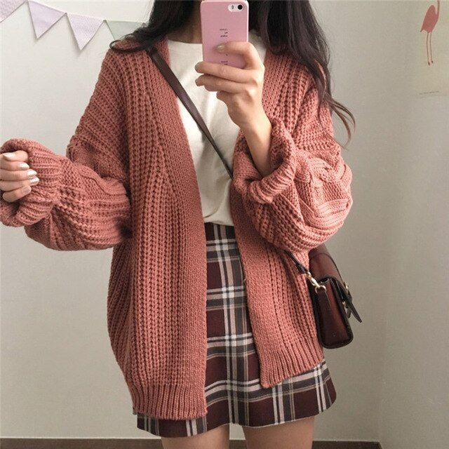 Photo of One Size Brown Knit Cardigan Sweater | 4Colordress