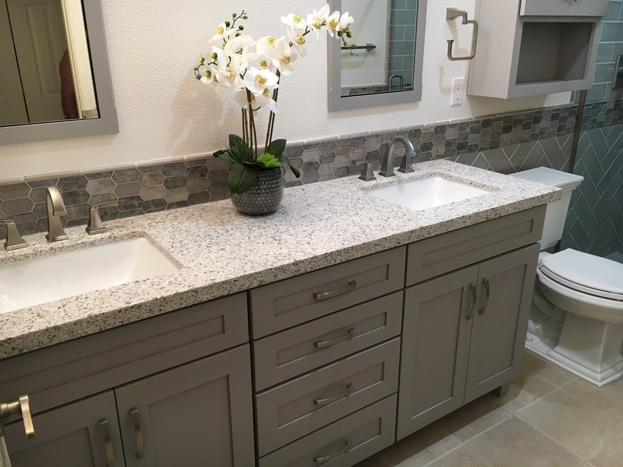 Prairie Style Shaker Cabinetry With Dove Gray Paint Paired Perfectly With The Quartz Countertops And Glass M Bathrooms Remodel Bathroom Remodel Gallery Remodel [ jpg ]