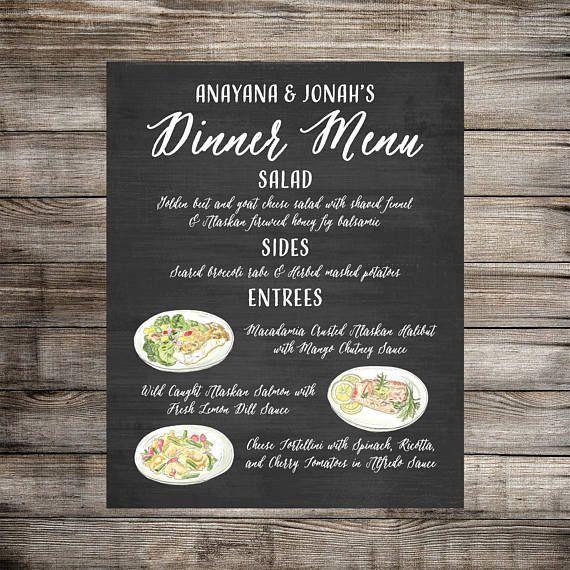 Custom Dinner Menu Food Sign Wedding Food Sign Taco Bar In