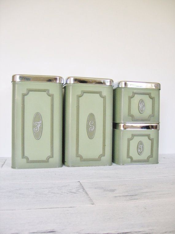 Vintage Green Kitchen Canister Set Of 4 // The By CocoAndBear, $40.00