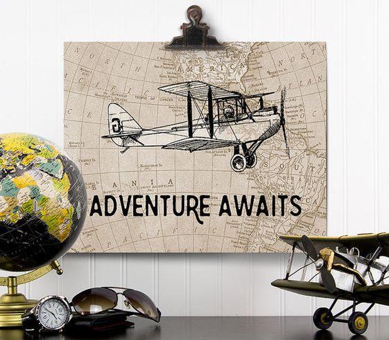 Adventure Awaits Print Vintage Airplane Nursery By Addisonandlake
